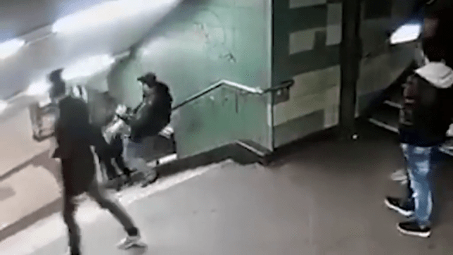 Man arrested after kicking woman down flight of stairs in underground station