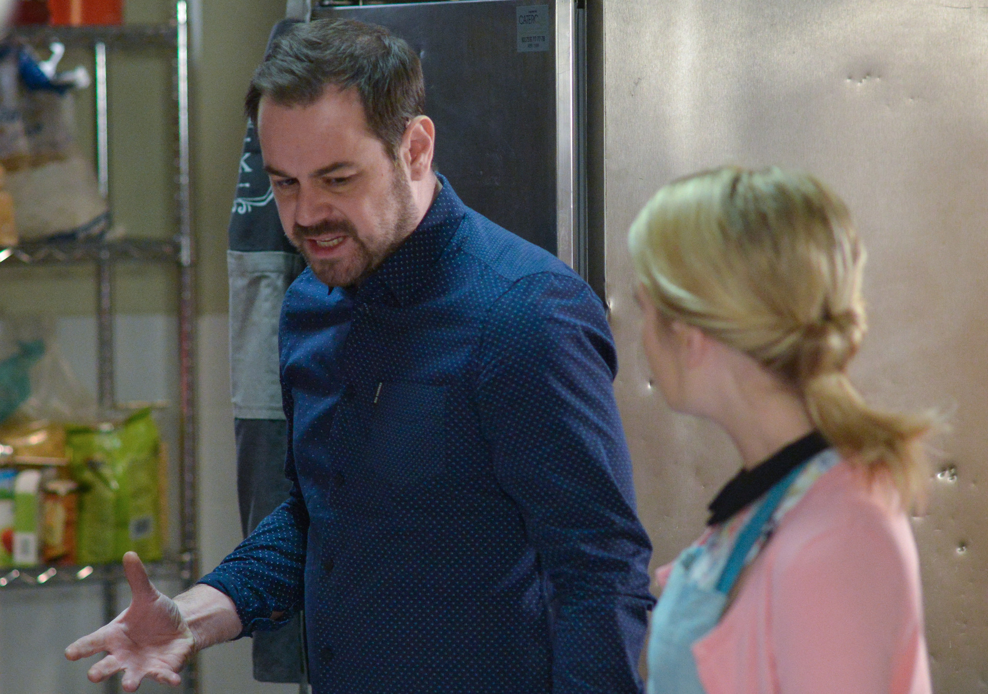 WARNING: Embargoed for publication until 00:00:01 on 31/01/2017 - Programme Name: EastEnders - January-March 2017 - TX: 09/02/2017 - Episode: EastEnders - January-March 2017 - 5439 (No. n/a) - Picture Shows: *STRICTLY NOT FOR PUBLICATION UNTIL 00:01HRS, TUESDAY 31st JANUARY, 2017* The stress of his financial worries is beginning to get to Mick. Mick Carter (DANNY DYER), Abi Branning (LORNA FITZGERALD) - (C) BBC - Photographer: Jack Barnes