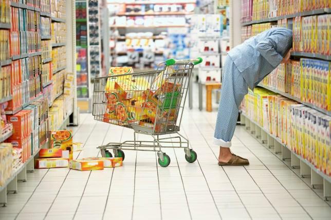 Man shopping in pajamas