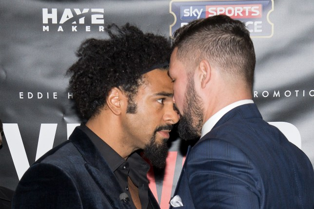 British boxers David Haye (L) and Tony Bellew go head to head after a press conference on November 30, 2016 in London to promote their upcoming heavyweight fight due to take place on March 4, 2017. / AFP / Justin TALLIS (Photo credit should read JUSTIN TALLIS/AFP/Getty Images)