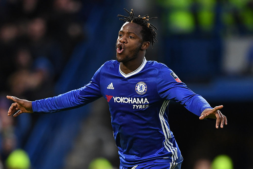 LONDON, ENGLAND - JANUARY 28: Michy Batshuayi of Chelsea celebrates after scoring his sides fourth goal during the Emirates FA Cup Fourth Round match between Chelsea and Brentford at Stamford Bridge on January 28, 2017 in London, England. (Photo by Shaun Botterill/Getty Images)