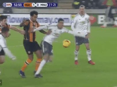 Manchester United fans lose it at referee Jon Moss during Hull City game