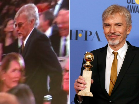 Watch Billy Bob Thornton awkwardly squeeze past ex-fiancée Laura Dern at the Golden Globes