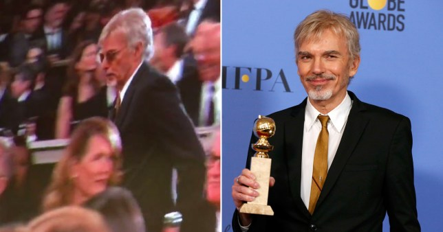 Billy Bob Thornton walked past ex Laura Dern at the Golden Globes and it was super awkward (Picture: Twitter/Reuters)