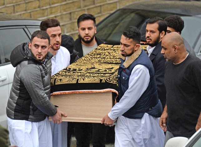 Coffin of Mohammed Yassar Yaqub carried into the mosque (Picture: Anna Gowthorpe/PA)