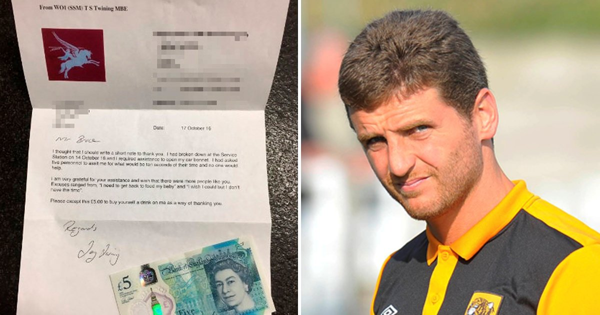 Soldier sends £5 note to helpful footballer to 'buy himself a drink' after car breakdown