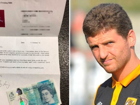 Soldier sends £5 note to helpful footballer to 'buy himself a drink' after car breakdown