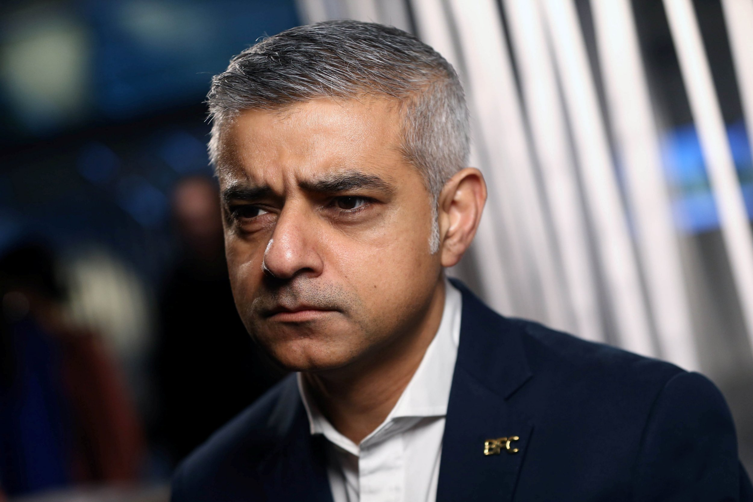 Mayor of London Sadiq Khan speaks during a television interview during London Fashion Week Men's 2017 in London, Britain January 6, 2017. REUTERS/Neil Hall