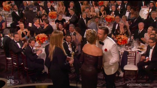 """8 January 2017 - Los Angeles - USA **** STRICTLY NOT AVAILABLE FOR USA *** Emotional Ryan Gosling dedicates Best Actor Golden Globes win to Eva Mendes and her brother who died of cancer. gave a very emotional speech as he accepted the Best Performance by an Actor in a Motion Picture Musical or Comedy gong. The 36-year-old actor dedicated his win at at the 74th annual Golden Globes on Sunday night to girlfriend Eva Mendes and her brother who recently passed away of cancer. Gosling kicked off his acceptance speech joking he had once again been mistaken for Deadpool star Ryan Reynolds who was also nominated in the same category. But after that he got serious as he spoke about his love for Mendes and their daughters. Gosling said: """"You don't get to be up here without standing on a mountain of people and there's no time to thank everyone. I'd like to try and thank one person properly. While I was singing and dancing, playing piano and having one of the best times I've ever had, my lady was raising our daughter, pregnant with our second and help her brother fight his battle with cancer. If she hadn't taken all that on so that I could have this experience there would surely be someone else up here other than me today. So sweetheart, thank you. To my daughter Amada and Esmerelda I love you. And I'd like tyo dedicate this to the memory to her brother Juan Carlos Mendez."""" XPOSURE PHOTOS DOES NOT CLAIM ANY COPYRIGHT OR LICENSE IN THE ATTACHED MATERIAL. ANY DOWNLOADING FEES CHARGED BY XPOSURE ARE FOR XPOSURE'S SERVICES ONLY, AND DO NOT, NOR ARE THEY INTENDED TO, CONVEY TO THE USER ANY COPYRIGHT OR LICENSE IN THE MATERIAL. BY PUBLISHING THIS MATERIAL , THE USER EXPRESSLY AGREES TO INDEMNIFY AND TO HOLD XPOSURE HARMLESS FROM ANY CLAIMS, DEMANDS, OR CAUSES OF ACTION ARISING OUT OF OR CONNECTED IN ANY WAY WITH USER'S PUBLICATION OF THE MATERIAL. BYLINE MUST READ : NBC/XPOSUREPHOTOS.COM PLEASE CREDIT AS PER BYLINE *UK CLIENTS MUST CALL PRIOR TO TV OR ONLINE USAGE PLEASE"""
