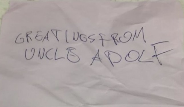 PIC FROM MERCURY PRESS (PICTURED: THE NOTE ALLEGEDLY DISCOVERED IN AN AMAZON PARCEL, READING 'GREETINGS FROM UNCLE ADOLF) A Jewish mum was horrified to discover an anti-Semitic note that read ëGreetings from Uncle Adolfí allegedly in an Amazon parcel ñ a hate crime that left her so upset she was off work for two days. The Amazon customer, who doesnít wish to be identified for fear of reprisals, received the vile hand-scrawled note when she opened a building blocks-style toy¿she ordered for her niece. Shocked, the mum in her 30s told friends what had happened and reported it to the Met Police. SEE MERCURY COPY