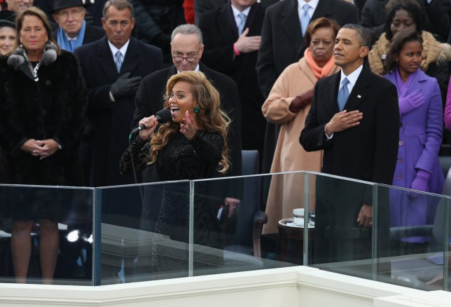Obama's inauguration was very different (Getty) WASHINGTON, DC - JANUARY 21: Singer Beyonce performs the National Anthem during the public ceremonial inauguration for U.S. President Barack Obama on the West Front of the U.S. Capitol January 21, 2013 in Washington, DC. Barack Obama was re-elected for a second term as President of the United States. (Photo by Alex Wong/Getty Images)
