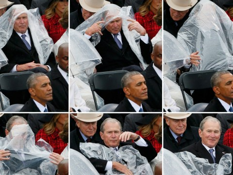 George W Bush had a fight with a poncho during Trump's inauguration