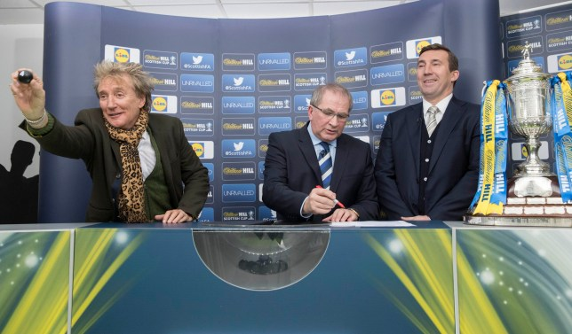 Handout photo provided by Steve Welsh of Sir Rod Stewart (left), SFA President Alan McRae (centre) and Alan Stubbs during the William Hill Scottish Cup 5th Round Cup Draw at the Excelsior Stadium Airdrie. PRESS ASSOCIATION Photo. Issue date: Sunday January 22, 2017. Photo credit should read: Steve Welsh/PA Wire. NOTE TO EDITORS: This handout photo may only be used in for editorial reporting purposes for the contemporaneous illustration of events, things or the people in the image or facts mentioned in the caption. Reuse of the picture may require further permission from the copyright holder.