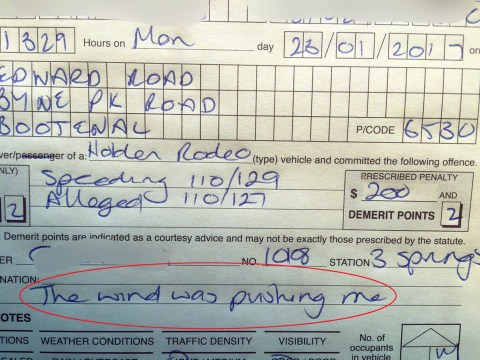 Driver told police he was speeding because 'the wind was pushing me'