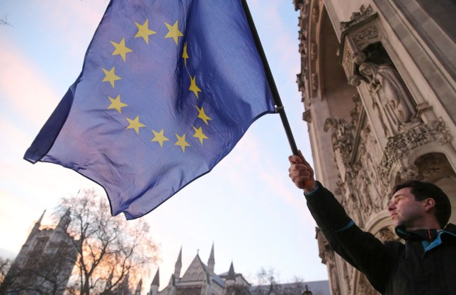 Mandatory Credit: Photo by James Gourley/REX/Shutterstock (7985259e) A man waving an EU flag outside the Supreme Court Brexit appeal case verdict, Supreme Court, London, UK - 24 Jan 2017