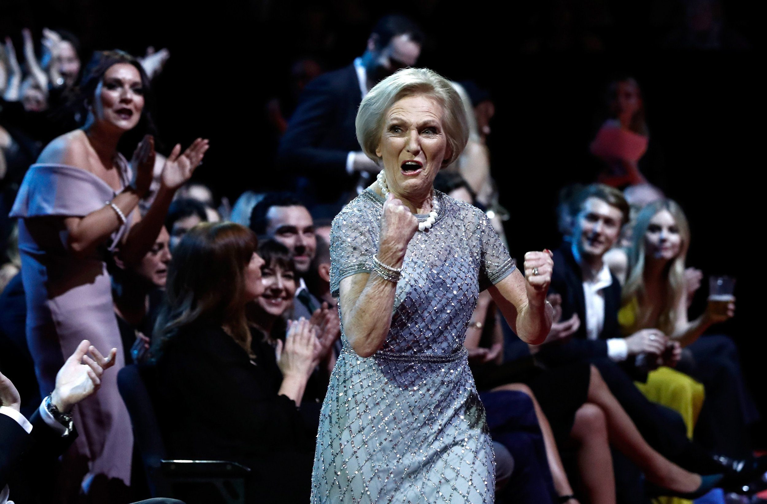 LONDON, ENGLAND - JANUARY 25: Mary Berry reacts to winning the Best TV Judge during the National Television Awards at The O2 Arena on January 25, 2017 in London, England. (Photo by John Phillips/Getty Images)