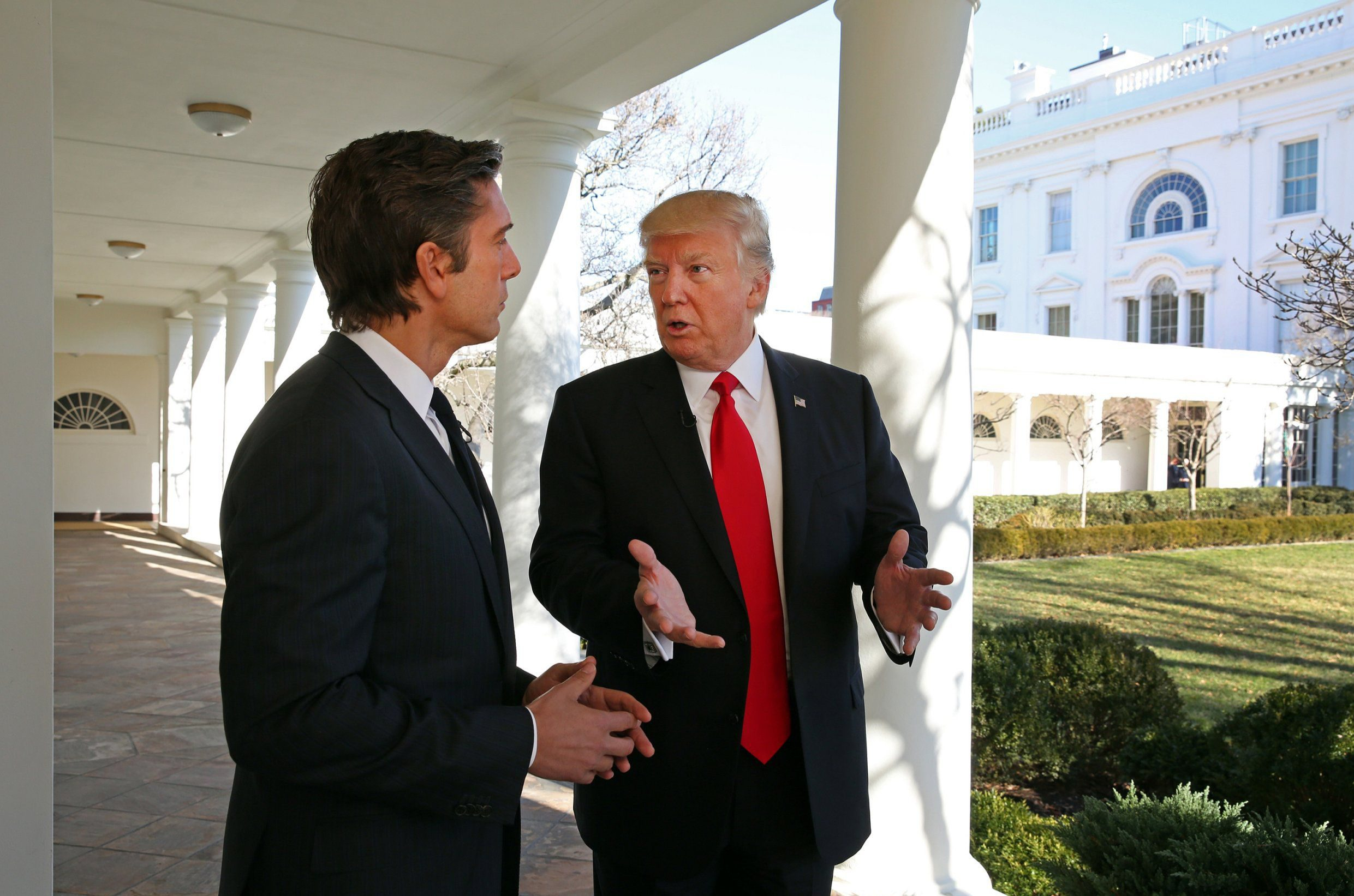 "WORLD NEWS TONIGHT WITH DAVID MUIR - ABC News' David Muir talks to President Donald J. Trump from the White House in Washington, DC in his first one-on-one television interview since being sworn in as the 45th president of the United States. The exclusive one-hour primetime special ""President Trump: The First Interview"" with David Muir airs on Wednesday, January 25, 2017 at 10 p.m. ET on the ABC Television Network. (Photo by Martin H. Simon/ABC via Getty Images) DAVID MUIR, PRESIDENT DONALD TRUMP"