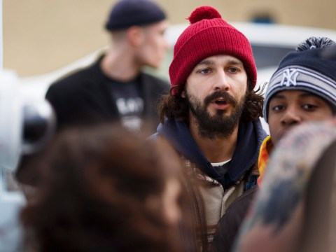 Shia LeBeouf triumphantly returns to his anti-Trump protest project after being charged with assault