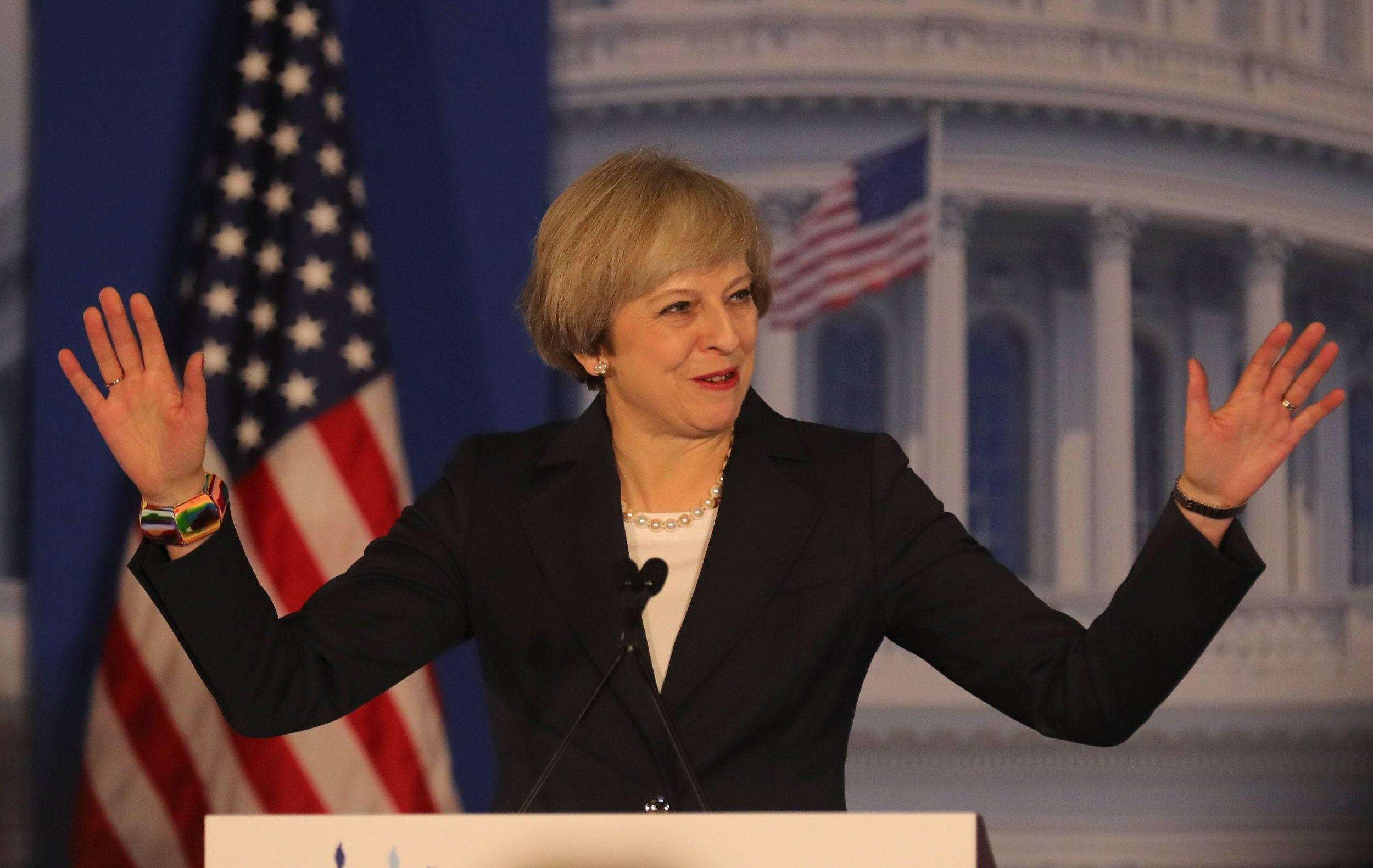 PHILADELPHIA, PA - JANUARY 26: British Prime Minister Theresa May speaks at the Congress of Tomorrow Republican Member Retreat at Loews Philadelphia Hotel on January 26, 2017 in Philadelphia, Pennsylvania. British Prime Minister Theresa May is on a two-day visit to the United States and will be the first world leader to meet with President Donald Trump. (Photo by Christopher Furlong/Getty Images) ***BESTPIX***