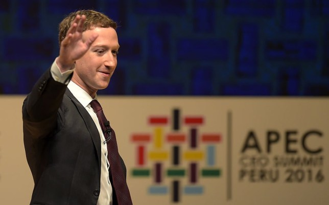 Facebook CEO and chairman Mark Zuckerberg waves after speaking at the APEC CEO Summit session, part of the broader Asia-Pacific Economic Cooperation (APEC) Summit in Lima on November 19, 2016.nPeru's President Pedro Pablo Kuczynski opened the summit of Asia-Pacific leaders on November 18 urging them to robustly defend free trade against protectionist trends in the United States and Europe. / AFP / Rodrigo BUENDIA        (Photo credit should read RODRIGO BUENDIA/AFP/Getty Images)