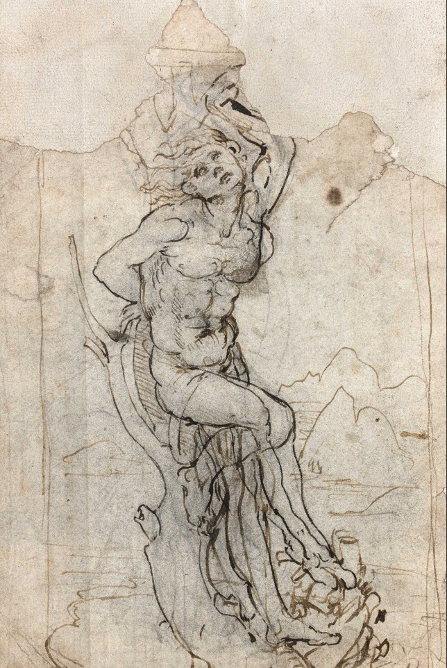 BNPS.co.uk (01202 558833) Pic: SalonduDessin/BNPS An extraordinary lost drawing by Leonardo Da Vinci valued at £12million has been discovered 530 years after the Italian master produced it. The work was found hidden in a portfolio of anonymous sketches inherited by a retired doctor who had no idea it was inside. It was only when he took the drawings to an auction house for valuation that the previously unknown Da Vinci drawing was revealed. The drawing, measuring about 7.5ins by 5ins, depicts the martyred St Sebastian tied to a tree. It is inscribed 'Michelange' (Michelangelo) on the mount.