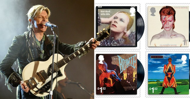 The Royal Mail are releasing a special collection of David Bowie stamps (Picture: Getty; PA/Royal Mail
