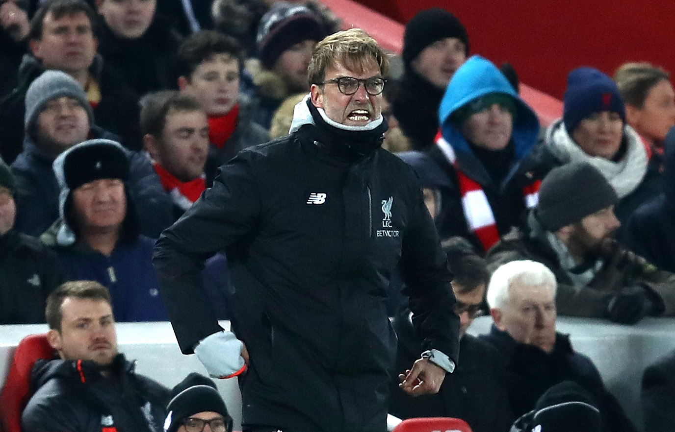 LIVERPOOL, ENGLAND - JANUARY 25: Jurgen Klopp, Manager of Liverpool reacts during the EFL Cup Semi-Final Second Leg match between Liverpool and Southampton at Anfield on January 25, 2017 in Liverpool, England. (Photo by Julian Finney/Getty Images)