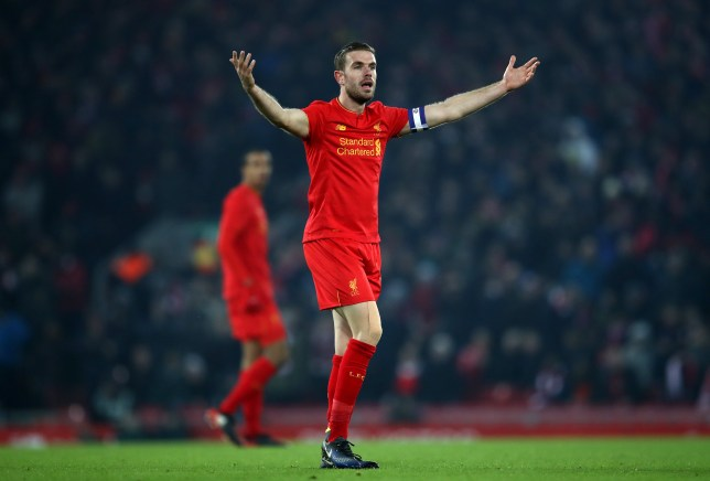 LIVERPOOL, ENGLAND - JANUARY 25: Jordan Henderson of Liverpool reacts  during the EFL Cup Semi-Final Second Leg match between Liverpool and Southampton at Anfield on January 25, 2017 in Liverpool, England.  (Photo by Julian Finney/Getty Images)