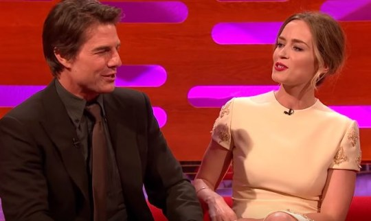 The clip includes Emily Blunt (R) trying to imitate Tom Cruise (R) (Picture: YouTube)
