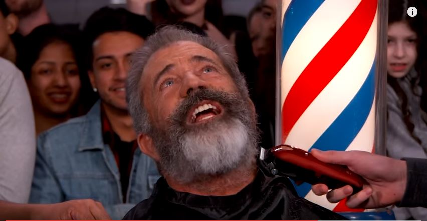 Watch Mel Gibson have his beard shaven off by a fan on Jimmy Kimmel