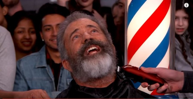 Mel Gibson had his beard shaved on Jimmy Kimmel (Picture: YouTube/NBC)