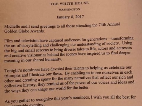 Barack Obama left an inspiring message for the guests at the Golden Globes