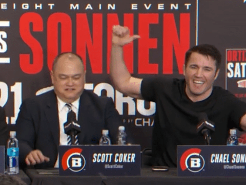 Chael Sonnen stuns gathered media as he takes aim at Tito Ortiz's ex at Bellator 170 press conference