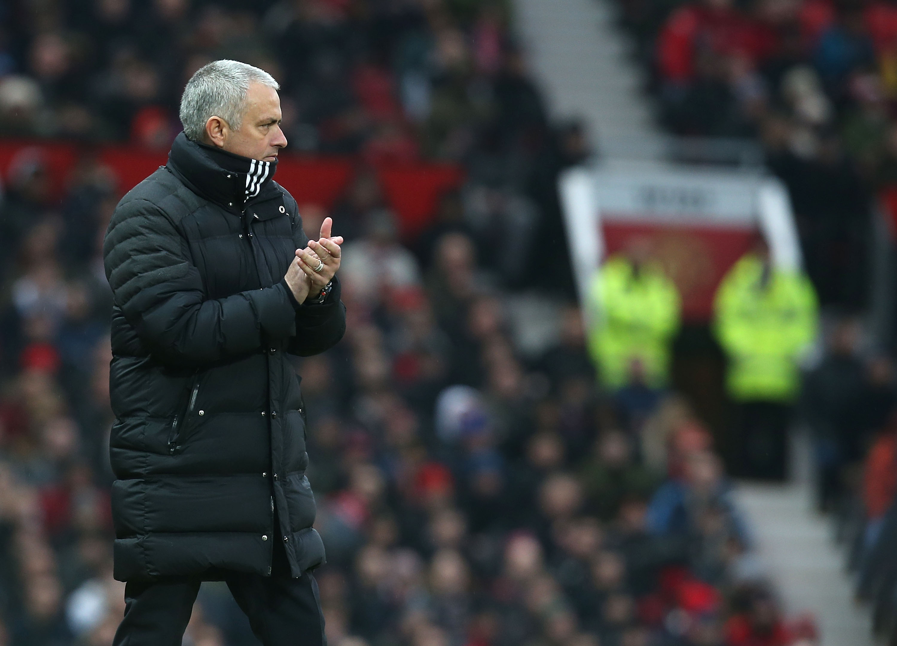 MANCHESTER, ENGLAND - FEBRUARY 11: Manager Jose Mourinho of Manchester United watches from the touchline during the Premier League match between Manchester United and Watford at Old Trafford on February 11, 2017 in Manchester, England. (Photo by Matthew Peters/Man Utd via Getty Images)