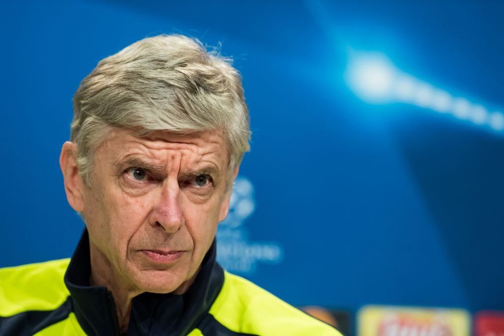 MUNICH, GERMANY - FEBRUARY 14: Head coach of Arsenal London Arsene Wenger speaks during a press conference prior to the UEFA Champions League round of 16 soccer match between FC Bayern Munich and Arsenal London at the Club's training ground in Munich, Germany on February 14, 2017. (Photo by Lukas Barth/Anadolu Agency/Getty Images)