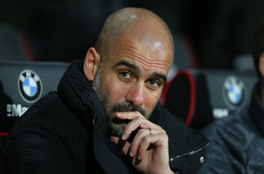 BOURNEMOUTH, ENGLAND - FEBRUARY 13: Pep Guardiola manager of Manchester City during the Premier League match between AFC Bournemouth and Manchester City at Vitality Stadium on February 13, 2017 in Bournemouth, England. (Photo by Catherine Ivill - AMA/Getty Images)