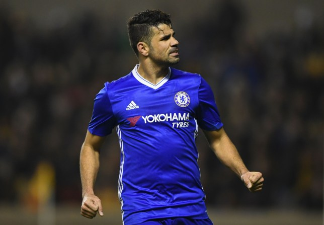 WOLVERHAMPTON, ENGLAND - FEBRUARY 18:  Diego Costa of Chelsea celebrates scoring his sides second goal during The Emirates FA Cup Fifth Round match between Wolverhampton Wanderers and Chelsea at Molineux on February 18, 2017 in Wolverhampton, England.  (Photo by Shaun Botterill/Getty Images)
