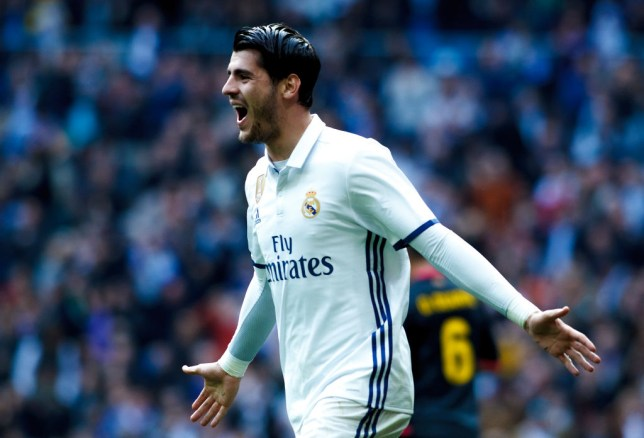 MADRID, SPAIN - FEBRUARY 18:Alvaro Morata of Real Madrid celebrates a goal during the Spanish League 2016/17 match between Real Madrid and Espanyol, at Santiago Bernabeu Stadium in Madrid on February 18, 2017. (Photo by Guillermo Martinez/Corbis via Getty Images)