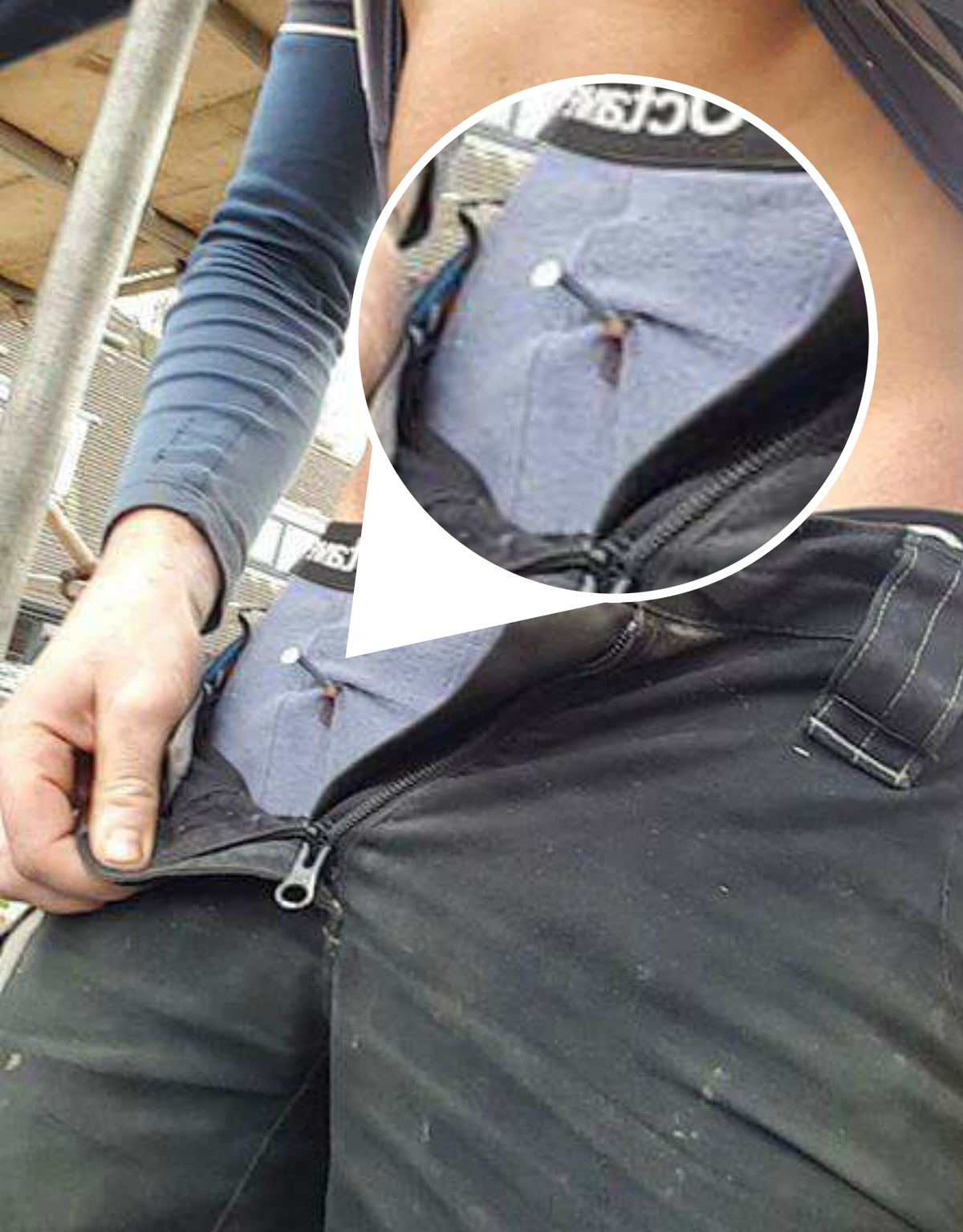 The three and a half inch nail was embedded into his crotch (Picture: Cascade)