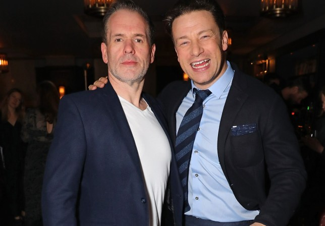 LONDON, ENGLAND - FEBRUARY 08: Chris Moyles and Jamie Oliver attend Jamie Oliver's new Barbecoa restaurant, a classic steakhouse reimagined in the heart of Piccadilly on February 8, 2017 in London, England. (Photo by David M. Benett/Dave Benett/ Getty Images for Jamie Oliver Group )