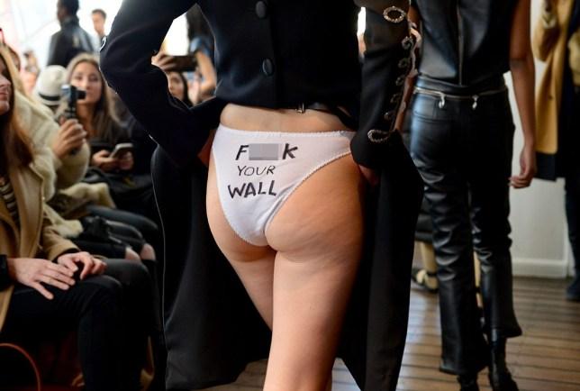 Mandatory Credit: Photo by Andrea Hanks/WWD/REX/Shutterstock (8326875at) Models on the catwalk, fashion detail LRS New York show, Runway, Fall Winter 2017, New York Fashion Week, USA - 10 Feb 2017