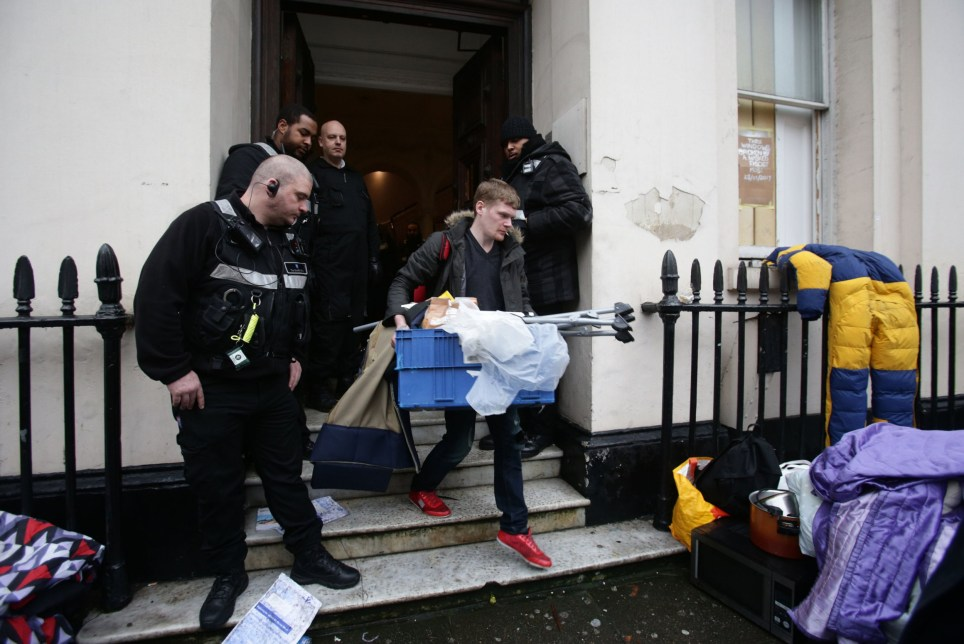 PABEST People leaving the £15 million Grade II listed mansion on Belgrave Place, London, which has been squatted by the Autonomous Nation of Anarchist Libertarians (Anal). PRESS ASSOCIATION Photo. Picture date: Wednesday February 1, 2017. See PA story SOCIAL Squatters. Photo credit should read: Yui Mok/PA Wire