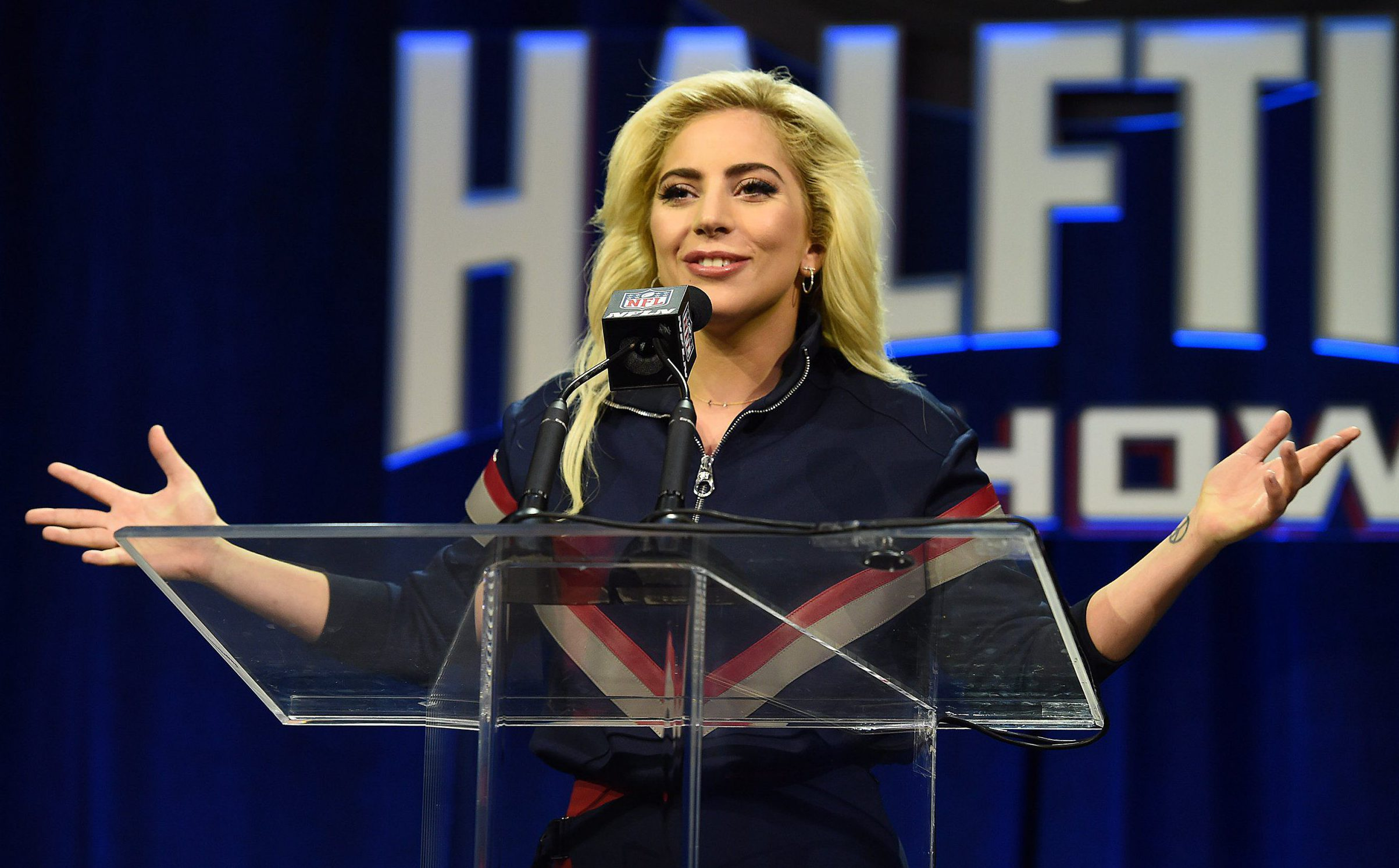 Mandatory Credit: Photo by Frank Micelotta/REX/Shutterstock (8254469w) Lady Gaga Super Bowl LI Pepsi Zero Sugar Halftime Show Press Conference, Houston, Texas, USA - 02 Feb 2017