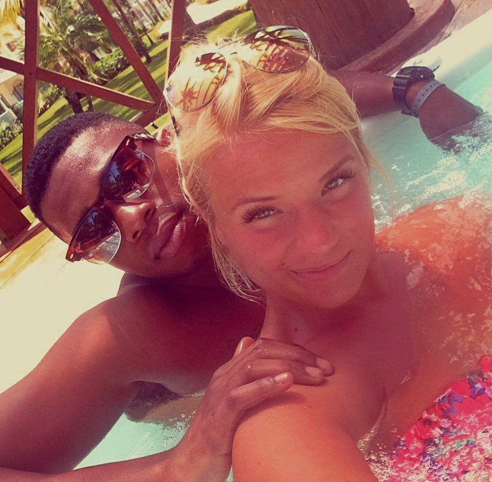 Greta Jarasiute and her boyfriend Jerome Anyanwu on the holiday where a balcony collapse left them with serious injuries. See SWNS story SWBALCONY; A British couple are suing a tour operator after falling when the third-floor balcony at their five-star Caribbean hotel collapsed. Greta Jarasiute and boyfriend Jerome Anyanwu suffered serious injuries and are still unable to work nearly six months later. Greta, 26, was taken to hospital with multiple spinal fractures and a fractured arm. Jerome, 22, also went under the knife after suffering a fractured left hand and tissue damage to his neck.
