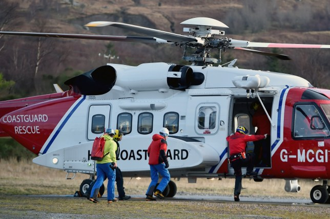 FORT WILLIAM, SCOTLAND - FEBRUARY 17: Rescuers resume a search with help from a Coastguard helicopter for two experienced climbers missing on Ben Nevis on February 17, 2016 in Fort William,Scotland. Climbers Rachel Slater, 24, and Tim Newton, 27 from Bradford, had been climbing over the weekend but were reported missing on Monday. (Photo by Jeff J Mitchell/Getty Images)