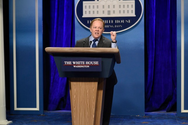 """SATURDAY NIGHT LIVE -- """"Kristen Stewart"""" Episode 1717 -- Pictured: Melissa McCarthy as Press Secretary Sean Spicer during the """"Sean Spicer Press Conference"""" sketch on February 4th, 2017 -- (Photo by: Will Heath/NBC/NBCU Photo Bank via Getty Images)"""