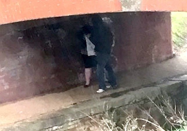 A disgusted mum-of-two was left in shock when she looked out of her living room window and saw a randy couple having SEX. See SWNS story SWSEX; Lara Shoemark, 19, from Bridgwater spotted the amorous pair getting frisky under a bridge while hanging up her washing. She says the couple were sheltering from the rain at first but soon started kissing - before putting their hands down each other's trousers. The bloke then lifted up his lover's skirt and they started having sex standing up.