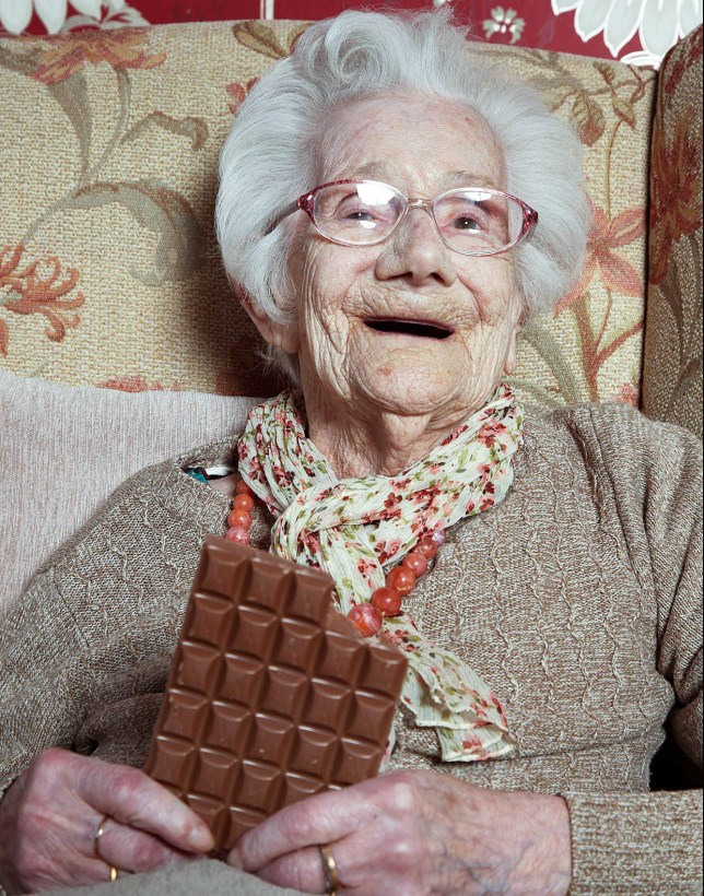"""PIC: MARK PASSMORE/APEX 09/02/2017 A woman who has just celebrated reaching 104 puts her longevity down to - chocolate. Sweet toothed Jessie Prentice (pictured) celebrated her 104th birthday on Wednesday. And Jessie who has never smoked still swears by a chocolate bar every day - and it seems to have paid off. Age has never been a barrier for her - she learned to drive at 58, stopped driving at 94, and only moved into a residential home when she turned 100. Sister-in-law Brenda Prentice, who visited Jessie on her birthday, said: """"She's always been very active. """"She's very interested in people and loves children."""" Jessie who lives at Goldens Sands residential home in Westward Ho, Devon, spent the day with her eldest son Peter Prentice, grandson Graham Prentice and Brenda. ** SEE STORY BY APEX NEWS - 01392 823144 ** ---------------------------------------------------- APEX NEWS AND PICTURES NEWS DESK: 01392 823144 PICTURE DESK: 01392 823145"""