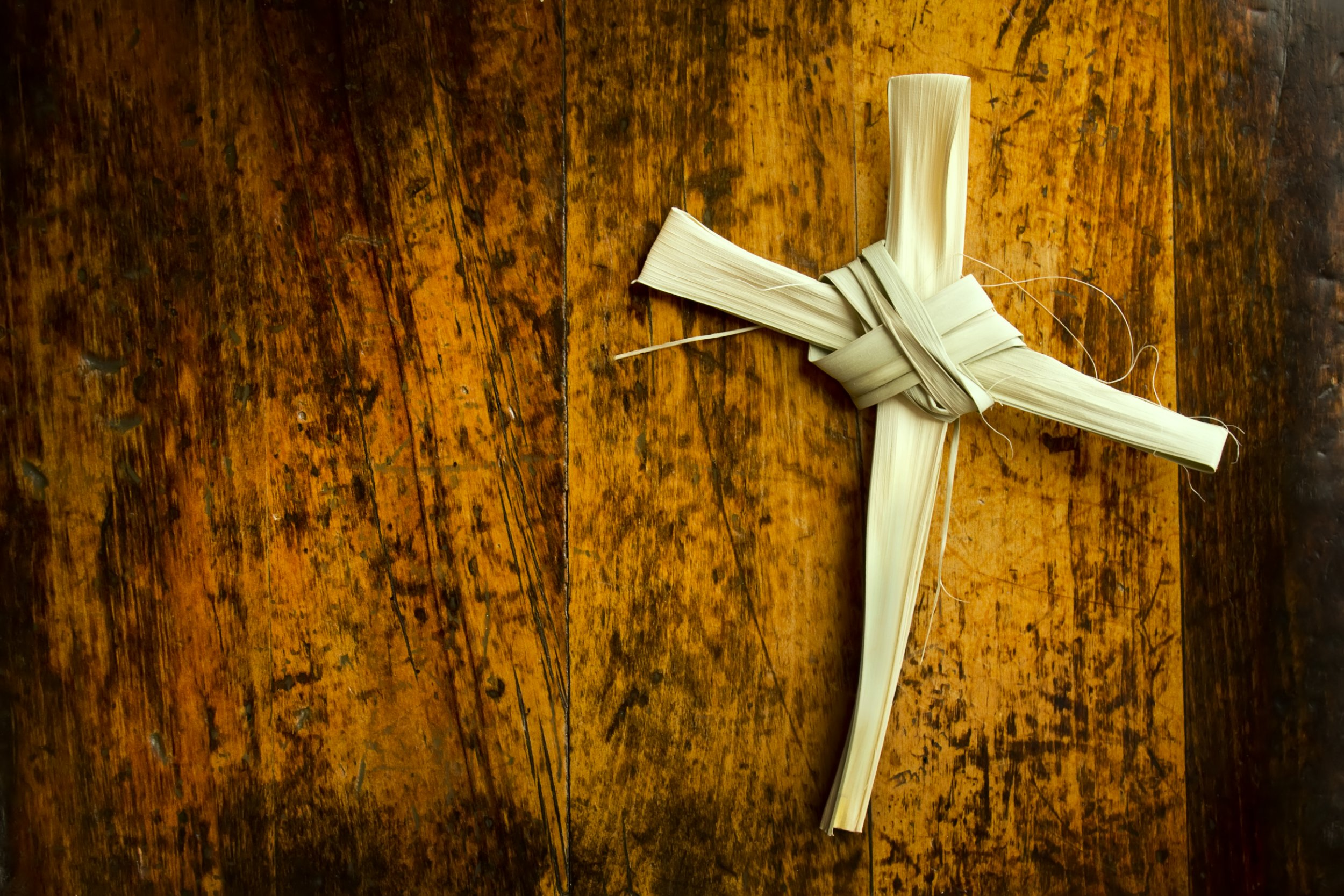 This Palm Branch was folded into a Cross shape and photographed on an antique wooden seat. It represents the Easter Season including Palm Sunday and Good Friday. Palm Branch Cross is my creation.; Shutterstock ID 149757194