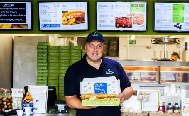 Craig Maw from Kingfisher fish and chips in Plympton, Devon. See SWNS story SWCHIPS. A fish and chip shop crowned best in the UK could become the first takeaway in the world - with a MICHELIN STAR. Inspectors from the elite dining guide are planning a visit to Kingfisher Fish and Chips to see if it comes up to scratch. Owners Craig Maw and partner Nikki Mutton already scooped the award for Britain's best chippie last week. The chippie in Plympton, Devon, serves traditional cod and haddock - but also sells lobster for £15.